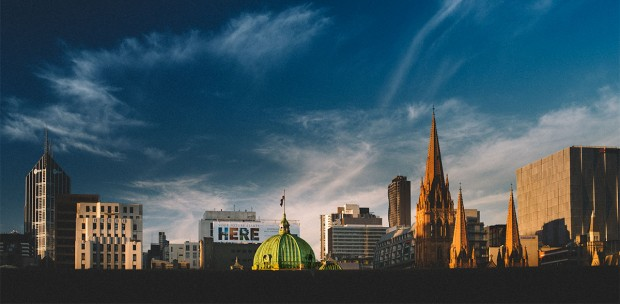 Melbourne cityscape of Flinders Street